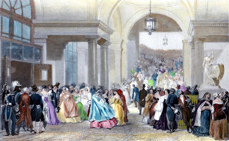 終演後のオペラ座(1842)E.ラミによるリトグラフ